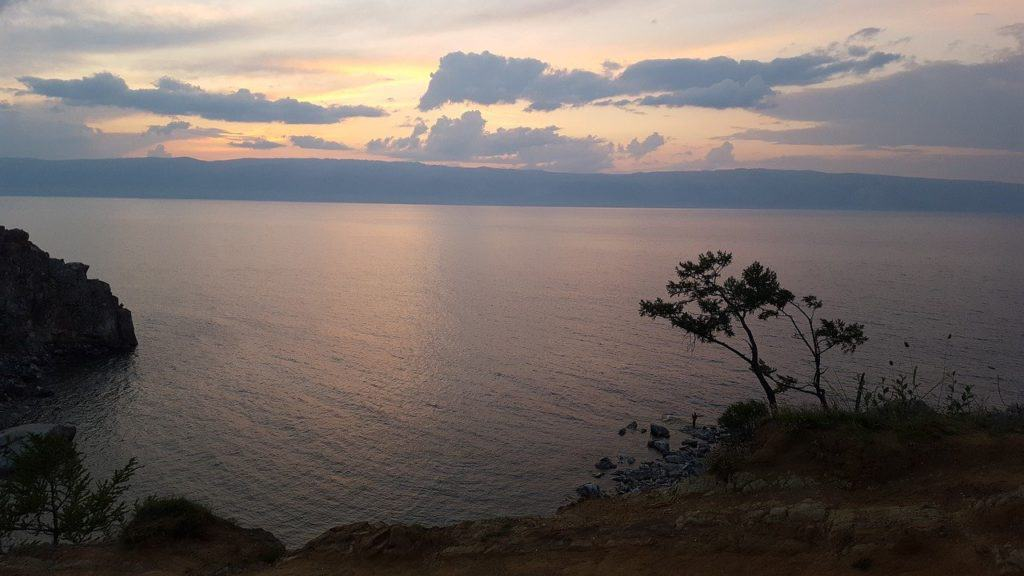 sunset over lake baikal russia