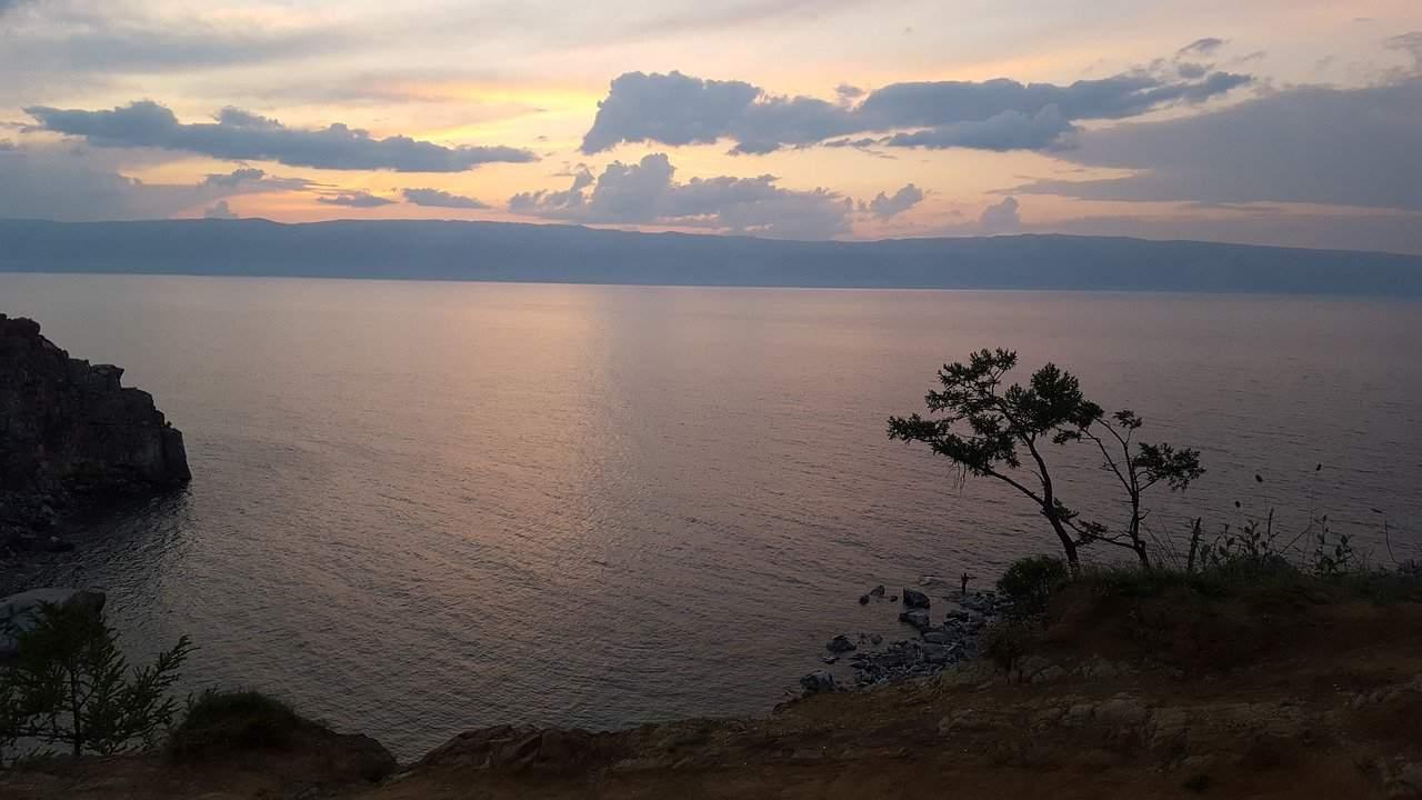 sunset over lake baikal russia